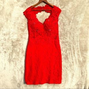Aspeed red lace & sequin dress. Short, size M.
